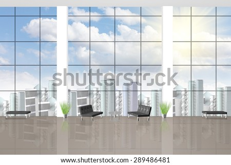 3D rendering of interior of a waiting room with large windows