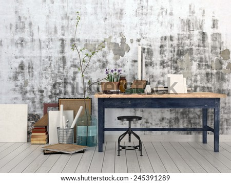 3D Rendering of Interior of an artist or designer studio with blank canvasses, picture frames and supplies on a simple black wood work table with a stool against an abstract patterned grey wall - stock photo