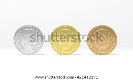 3D rendering of Isolated golden,silver and bronze medals on white background - stock photo