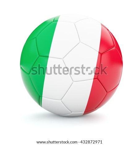 3d rendering of Italy soccer football ball with Italian flag isolated on white background - stock photo