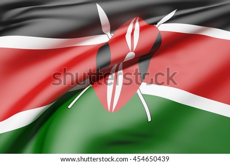 3d rendering of Kenya flag waving