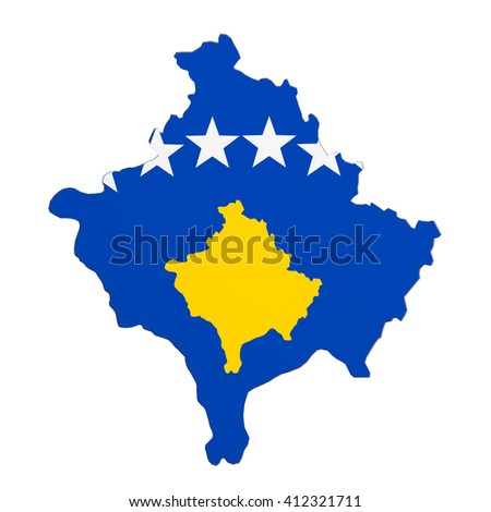 3d rendering of Kosovo map and flag on white background. - stock photo