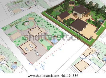 Landscape plan stock images royalty free images vectors for Garden design 3d tools