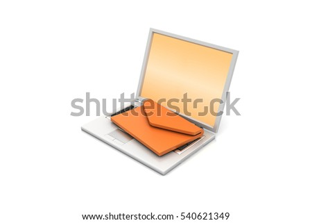 3d rendering of  Laptop with e-mail