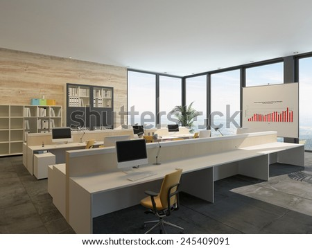 3D Rendering of Large bright open-plan commercial office interior with rows of workstations at wooden benches with bookcases filled with binders, a graph, and large floor-to-ceiling view windows - stock photo