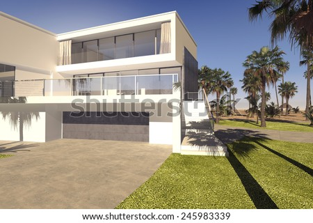 3D Rendering of Large double garage and outdoor patio with large windows on a luxury tropical house with a rectangular multi-storey design in a manicured garden with palm trees - stock photo