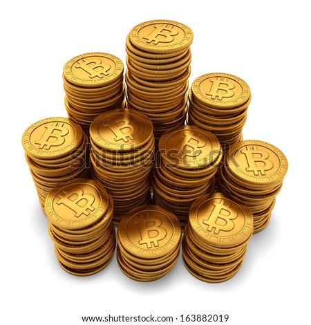 3D rendering of large group of paneled golden Bitcoins, isolated on white background - stock photo
