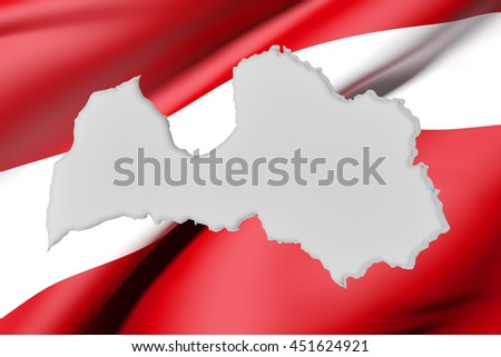 3d rendering of Latvia map and flag on background. - stock photo