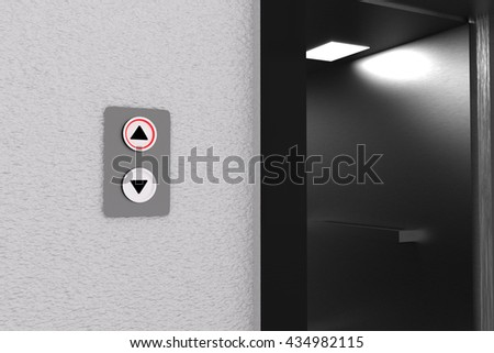 3D rendering of lift and panel going up - stock photo