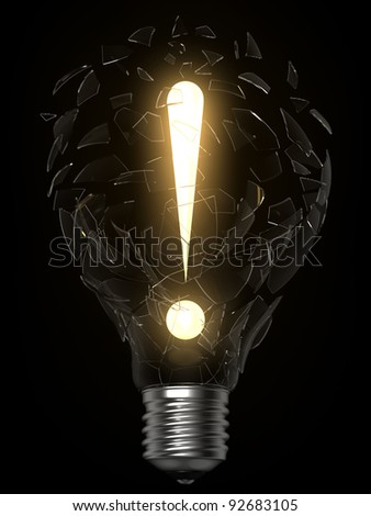 3D rendering of lightbulb and exclamation point breaking the glass - stock photo