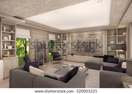 3D Rendering Of Living Room, Kitchen And Dining Room Are Combined In One  Area Of Part 89