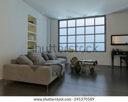 3D Rendering of Living room with a large cottage-pane style window and a large white sofa with decorative ornaments, recessed shelves and a mirror and table on a wooden parquet floor - stock photo
