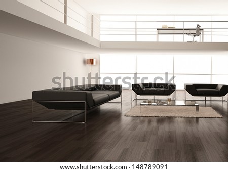 3D rendering of loft apartment interior