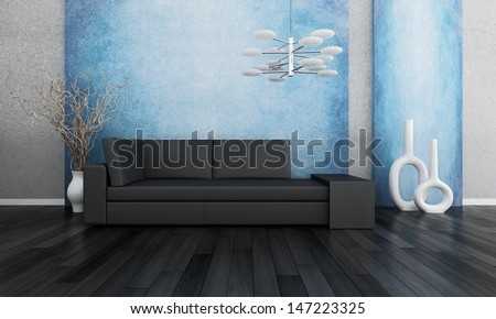 3D rendering of loft apartment interior with couch and dried branches in white vase against blue wall - stock photo