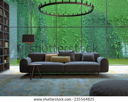 3D rendering of loft apartment interior with green plant wall. 3d rendering - stock photo