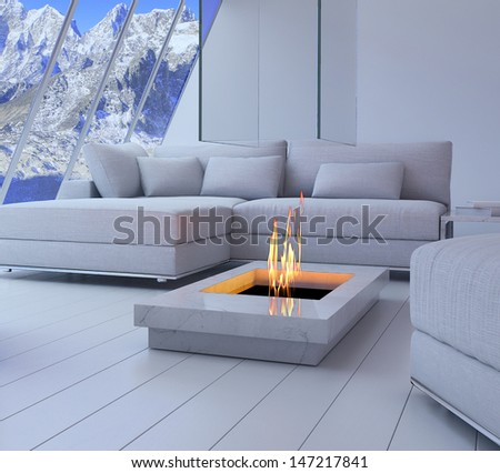 3D rendering of loft apartment interior with spectacular mountain view. - stock photo