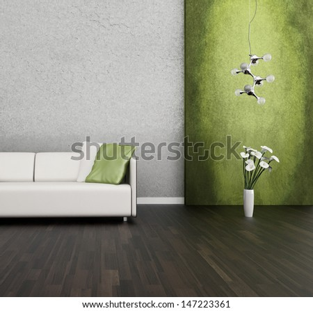 3D rendering of loft apartment interior with white couch  - stock photo
