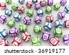 3d rendering of lottery balls on a white table - stock photo