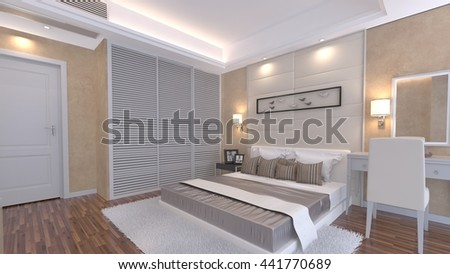 3D rendering of luxury bedroom - stock photo