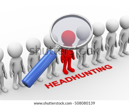 3d rendering of magnifier searching for highly skill person. Concept of headhunting. 3d white person people man