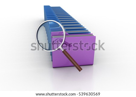 3d rendering of Magnifying glass with file folder