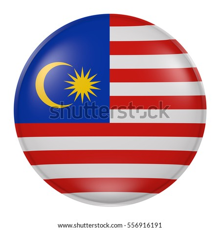 3d rendering of Malaysia button with flag on white background