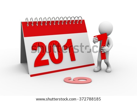 3d rendering of man completing calender of new year 2017.  - stock photo