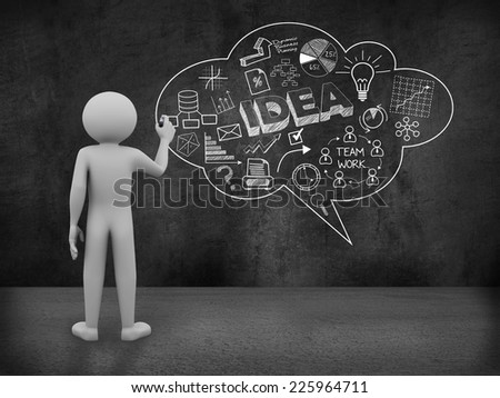 3d rendering of man drawing bubble speech business concept sketch on the wall. 3d white people character - stock photo