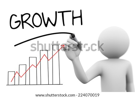 3d rendering of man drawing business arrow growth progress graph bar chart diagram and word growth on transparent glass screen. 3d white people character - stock photo