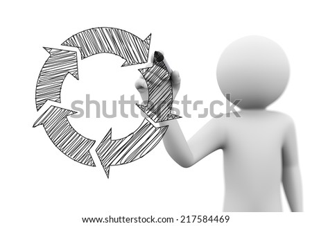 3d rendering of man drawing circular flow chart diagram sketch on transparent glass screen. 3d white people character - stock photo