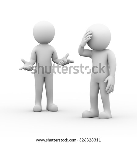 3d rendering of man having headache during argument fighting dispute with partner. Conflict and dispute between couple concept - stock photo