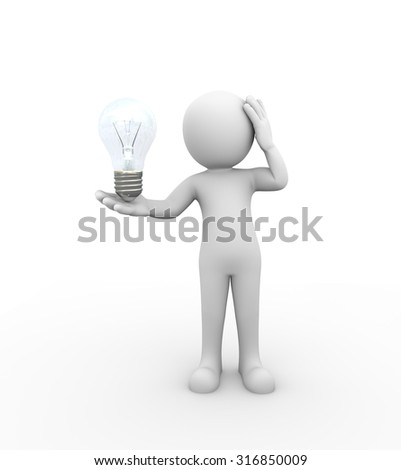 3d rendering of man holding electric bulb.