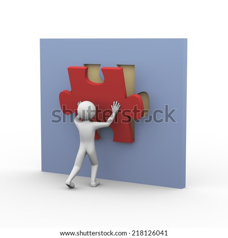 3d rendering of man placing and fixing puzzle piece. Presentation of problem solution concept. 3d white people man character - stock photo