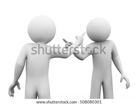 3d rendering of man pointing finger to another person. 3d white people man character