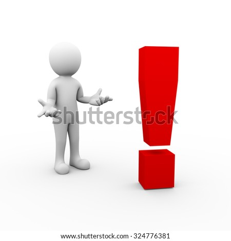 3d rendering of man posing no idea gesture in front of mark symbol. 3d white person people man. - stock photo