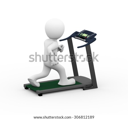 3d rendering of man running and exercising on treadmill. 3d white person people man - stock photo