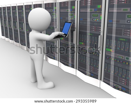 3d rendering of man with laptop working in network computer data server system datacenter room. 3d white person people man - stock photo