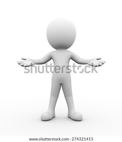 3d rendering of man with open arm presentation of welcome gesture posture pose. 3d white person people man - stock photo