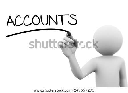 3d rendering of man writing account with marker on transparent glass screen. 3d white people character - stock photo