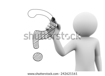 3d rendering of man writing question mark character symbol with marker on transparent glass screen. 3d white people character - stock photo