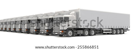 3d rendering of many silver cargo trucks parked in a row over white background. - stock photo