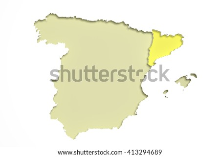 3d rendering of  map of Catalonia and Spain. - stock photo