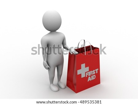 3d rendering of Medical kit and man
