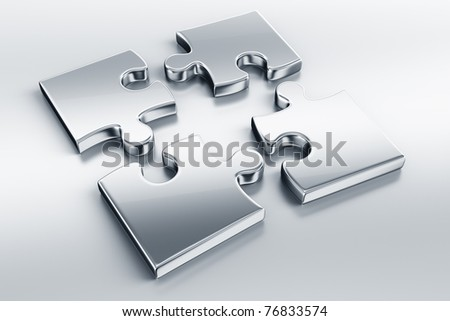 3d rendering of metal puzzle pieces on a reflective floor - stock photo