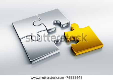 3d rendering of metal puzzle pieces on a reflective floor with one piece in gold - stock photo
