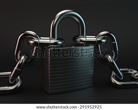 3d rendering of metallic padlock and chains against black background - stock photo