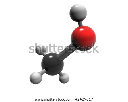 3D rendering of methanol molecule isolated on white background