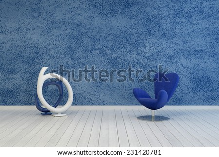 3D Rendering of Minimalist blue living room decor and interior with a rough textured painted wall over a white wooden floor with a modular armchair and contemporary abstract round sculpture or artwork - stock photo