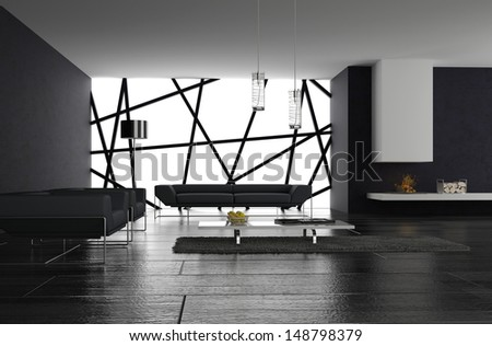 3D rendering of minimalist living room