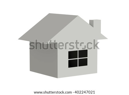3d rendering of model of house building with black window on white background. Isolated. - stock photo